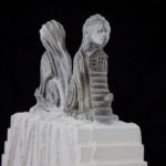 """Leslie Fry. Double Sphinx detail. Pewter, wood, acrylic, string. 11"""" x 12"""" x 2 ½"""""""