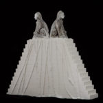 """Leslie Fry. Double Sphinx. Pewter, wood, acrylic, string. 11"""" x 12"""" x 2 ½"""""""